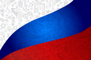 Soccer world international competition abstract russian flag wallpaper dynamic concept modern design, sports, football symbols, soccer ball, russian folk art elements, balalaika, doll, pattern vector