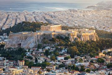 Fotomurales - Die Akropolis und der Parthenon Tempel von Athen, Griechenland bei Sonnenuntergang