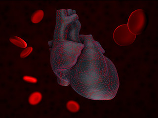 3d Illustration of Anatomy of Human Heart with blood cells Isolated on black