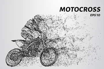 Motocross particles. Motocross consists of circles and dots. Vector illustration.