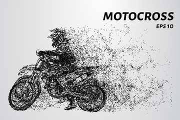Motocross particles. Motocross competition. Two motorcyclists race