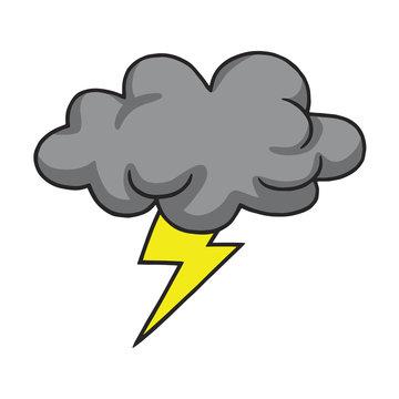 Thunderstorm Cloud Hand Drawn Vector Illustration