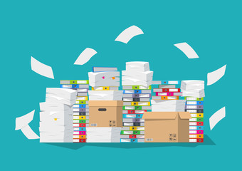 Vector illustration. Pile of paper documents and file folders.