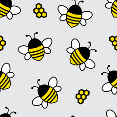 Seamless pattern with cartoon flying bee and honeycomb on light gray background. Vector illustration