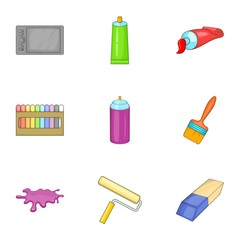 Drawing and painting tool icons set. Cartoon illustration of 9 drawing and painting tool vector icons for web