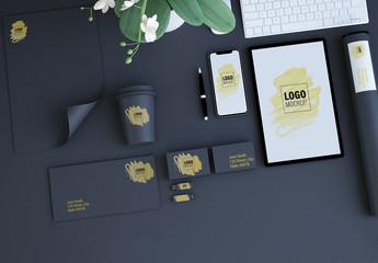 Corporate Identity Set Mockup on Dark Background