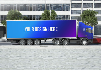Freight Truck on City Street Mockup