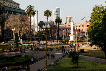 Panoramic view Plaza de Mayo, in the background Casa Rosada - Buenos Aires, Argentina