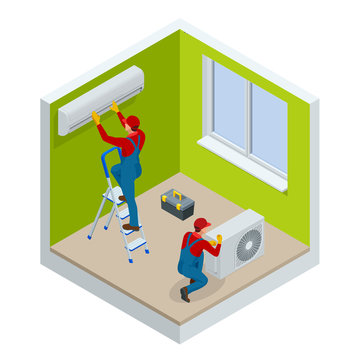 Isometric technician repairing split air conditioner on a white wall. Construction building industry, new home, construction interior. Vector illustration