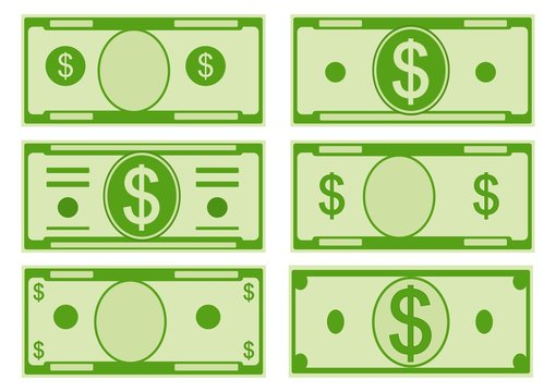 Vector cartoon options dollar banknotes. Front side. Vector illustration