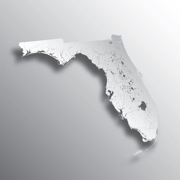U.S. states - map of Florida with paper cut effect. Please look at my other images of cartographic series - they are all very detailed and carefully drawn by hand WITH RIVERS AND LAKES.