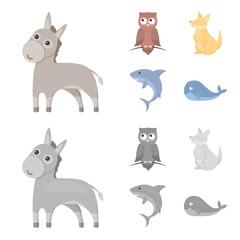 Donkey, owl, kangaroo, shark.Animal set collection icons in cartoon,monochrome style vector symbol stock illustration web.