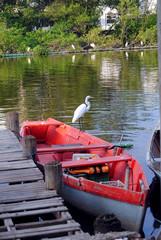 barco de pesca vermelho