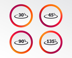 Angle 30-135 degrees icons. Geometry math signs symbols. Full complete rotation arrow. Infographic design buttons. Circle templates. Vector