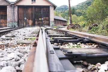 vintage tracks and engine shed in Austria, built around 1920s