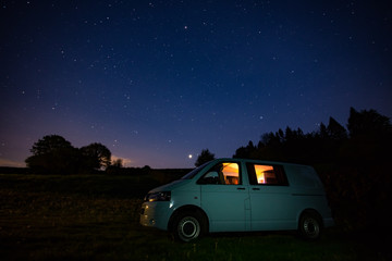 Campervan parked up overnight admiring the stars