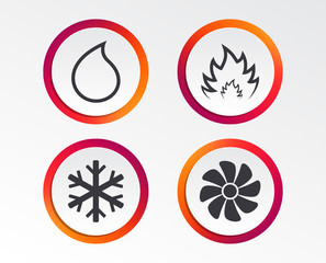 HVAC icons. Heating, ventilating and air conditioning symbols. Water supply. Climate control technology signs. Infographic design buttons. Circle templates. Vector