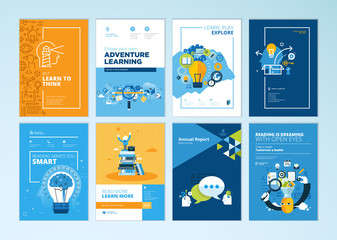 Wall Mural - Set of brochure design templates on the subject of education, school, online learning. Vector illustrations for flyer layout, marketing material, annual report cover, presentation template.