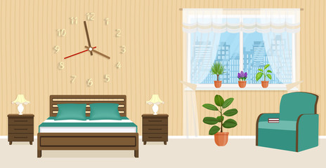 Bedroom interior design with bed, bedside tables, armchair and big clock on the wall. Domestic room design.