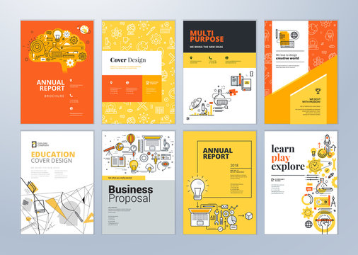 Set of brochure design templates on the subject of education, school, online learning. Vector illustrations for flyer layout, marketing material, annual report cover, presentation template.