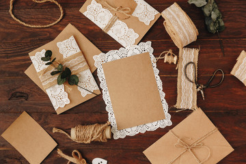 craft items and tools for handmade invitation cart. Diy concept, mock up greetings card