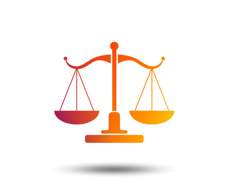 Scales of Justice sign icon. Court of law symbol. Blurred gradient design element. Vivid graphic flat icon. Vector