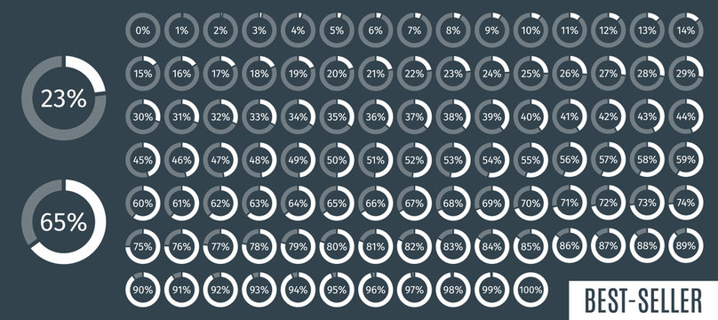 Set of circle percentage diagrams from 0 to 100 for infographics, dark, 5 10 15 20 25 30 35 40 45 50 55 60 65 70 75 80 85 90 95 percent. Vector illustration.