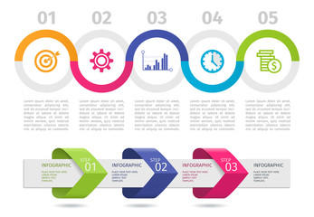 Colorful Infographic process chart and arrows with step up options. Vector