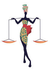 Tribal zodiac. Libra. Elegant woman in floral dress and turban, carrying a scale on her shoulders