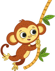 The cute monkey is swinging. Vector illustration.