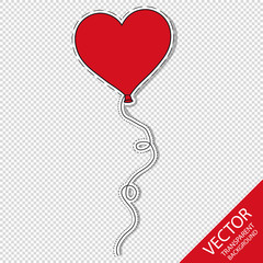 Heart Shaped Balloon - Vector Illustration - Isolated On Transparent Background