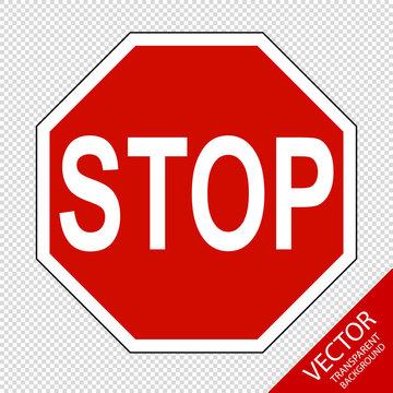 Verkehrszeichen 206 Halt! Stop Vorfahrt gewähren - Vektor Grafik - Freigestellt auf  transparentem Hintergrund