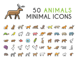 Set of 50 Minimalistic Solid Line Coloured Animal Icons . Isolated Vector Elements