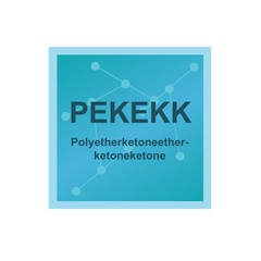 Vector symbol of Polyetherketoneetherketoneketone (PEKEKK) polymer on the background from connected macromolecules