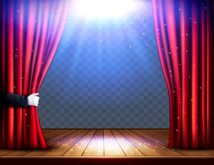 A theater stage with a red curtain and hand on transparent background. Festival night show poster. Vector