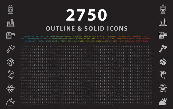 Set of 2750 Outline and Solid Icons on Black Background . Vector Isolated Elements
