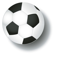 Soccer football ball and shadow isolated on white background vector.
