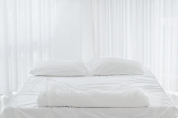 White clean pillow natural fabric cotton style on the white bed