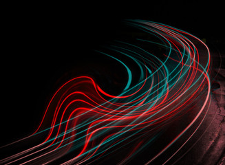 Long exposure at night red and turquoise streaks Fotobehang