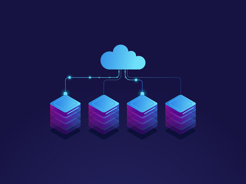 Server room, cloud storage icon, datacenter and database concept, data exchange process isometric