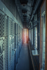 The corridor of the prison car. Transport for prisoners, the view from the inside. Bars on the Windows and doors. The interior of the prison train.