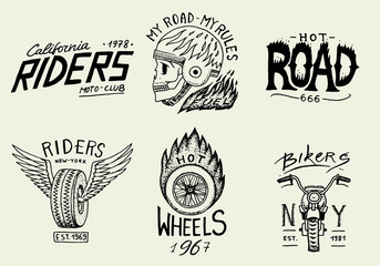 Motorcycles and biker club templates. Vintage custom skull emblems, labels badges for t shirt. Monochrome retro style. Classic racing sport motorbike. vector elements. Hand drawn engraved sketch