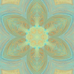 Turquoise and gold elegance ornament. Art decor. Sacred geometry artwork. Golden kaleidoscopic mandala. Liquid paint. Creative pattern for print production. Template for decoration of design products.