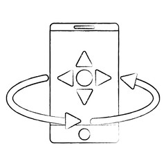 smartphone with remote control symbol over white background, vector illustration