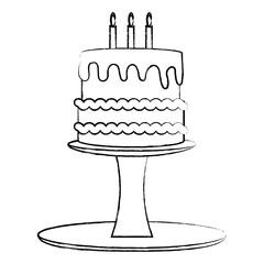 birthday cake on cake stand over white background, vector illustration