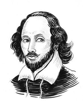 William Shakespeare. Ink black and white portrait