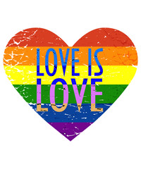 Vector illustration for LGBT or LGBTIQ community Pride month: lesbian, gay, bisexual, transgender and queer Rainbow flag in a distressed heart shape and text Love is Love.