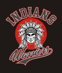 Indians warrior for t-shirt