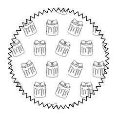 seal stamp with sweet cake pattern over white background, vector illustration