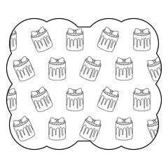 decorative frame with sweet cake pattern over white background, vector illustration